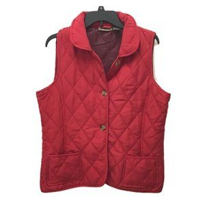 Jane Ashley Red Quilted Collared Vest w/ Pockets